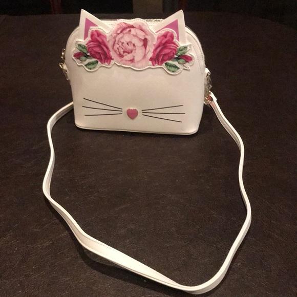 17657b5e478 New Betsey Johnson pink white cat crossbody bag NWT